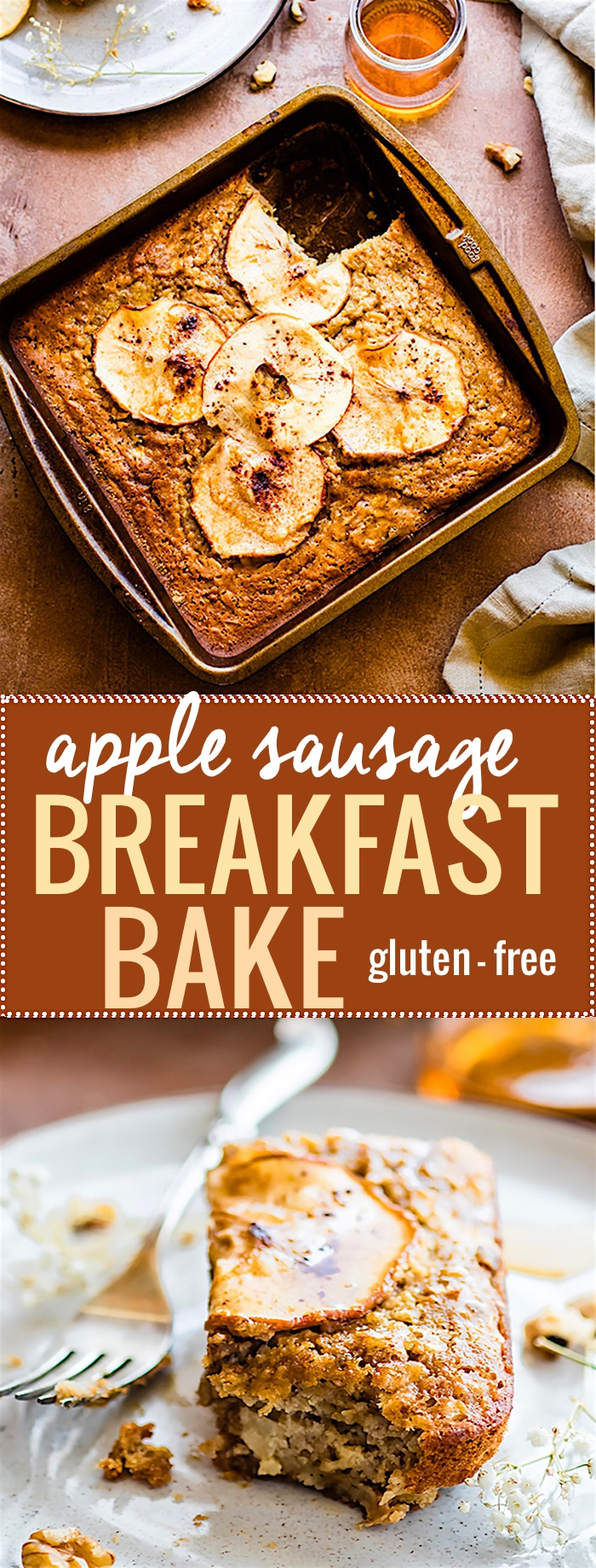 Apple Sausage is KEY for making this sweet and savory Healthy breakfast bake! Gluten Free chicken Apple sausage combined maple syrup, gluten free pancake mix, eggs, and more. It's a wholesome breakfast bake that's a meal in itself. Great for breakfast on the go, brunch, and more. Easy, protein packed, and DELICIOUS! @COTTERCRUNCH #alfrescogourmet