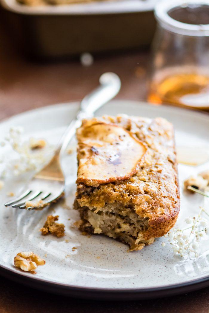 gluten-free Apple Sausage Breakfast Bake on a white plate