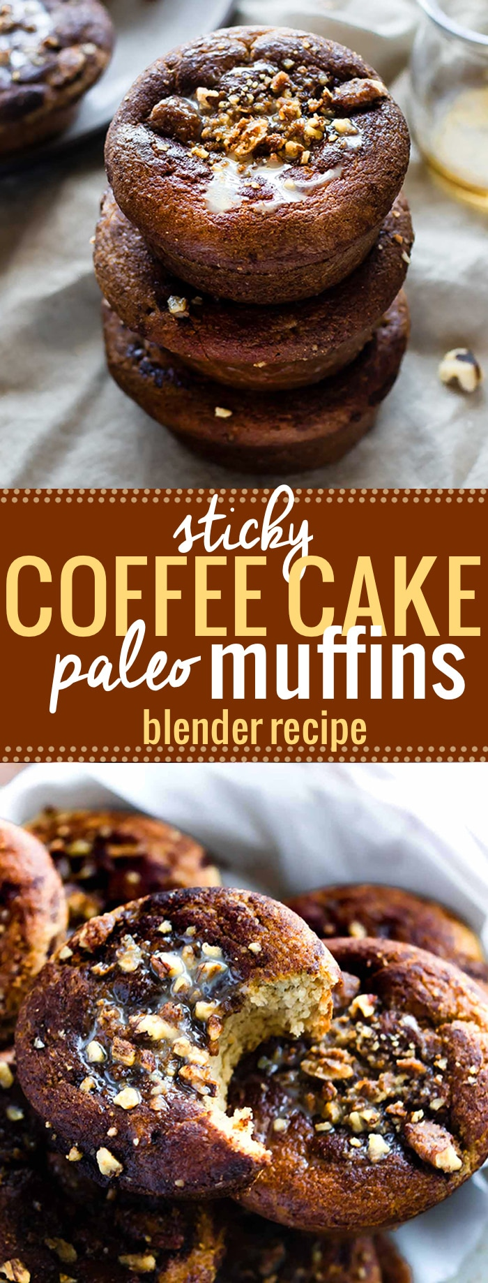 Blender Paleo Sticky Coffee Cake Muffins; a healthy gluten free mini version of your favorite coffee cake! These Paleo Coffee Cake Muffins are made easy in the blender, baked in under 30 minutes, then topped with sticky maple nut topping. A perfect pair with that cup of coffee. Enjoy for breakfast, brunch, or anytime! @cottercrunch