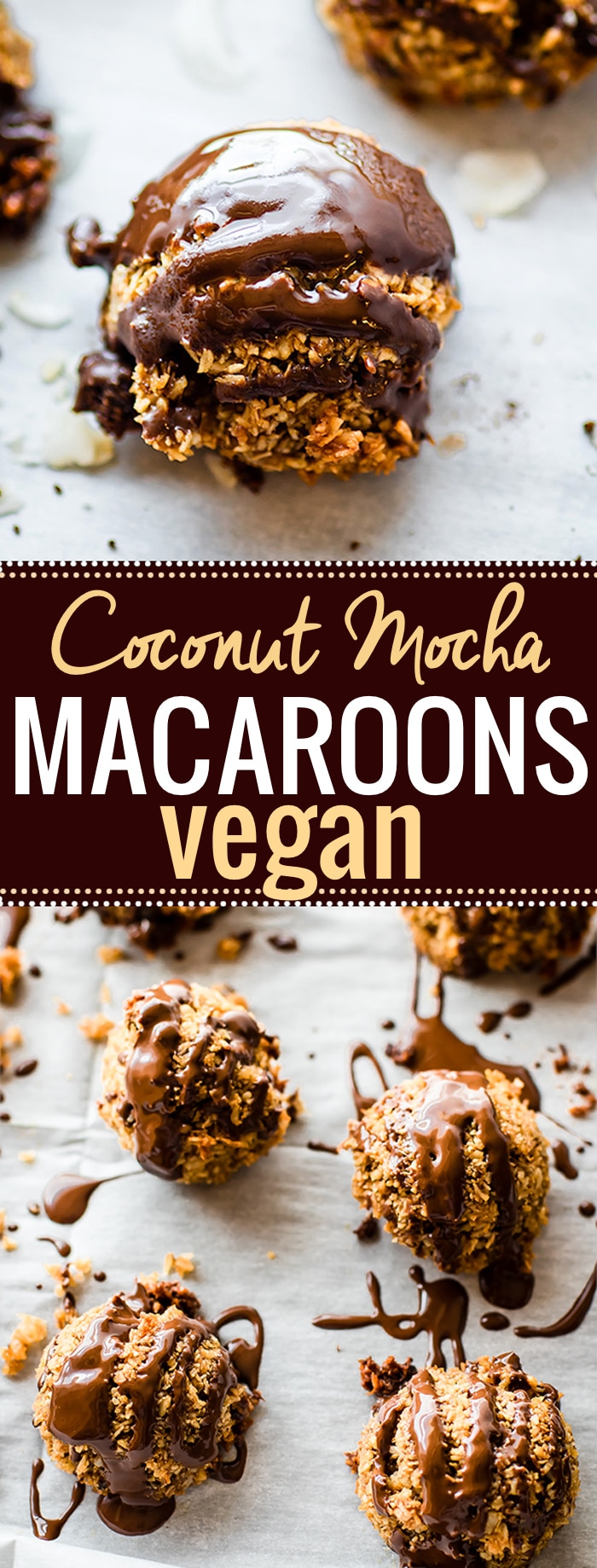 "Vegan Macaroons made EASY and QUICK! These Mocha Coconut Vegan Macaroons ""coco-roons"" are flavored with dark chocolate, espresso, and bourbon vanilla. A healthy cookie that you will love! Made with a few simple ingredients and are gluten free! @cottercrunch"