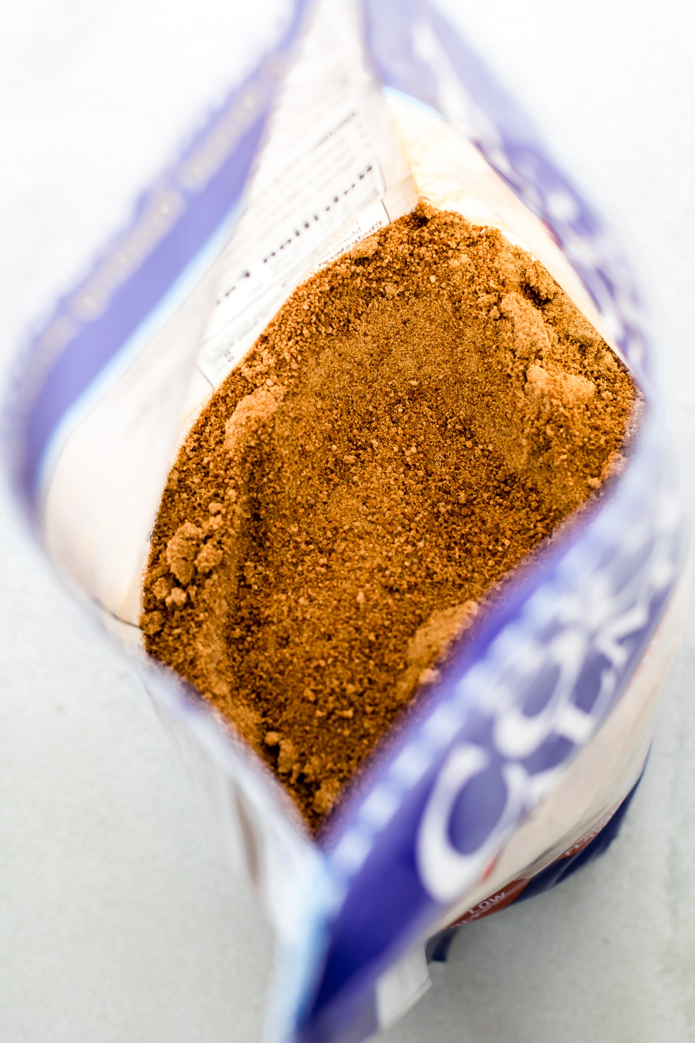 photo looking down into a package of coconut palm sugar