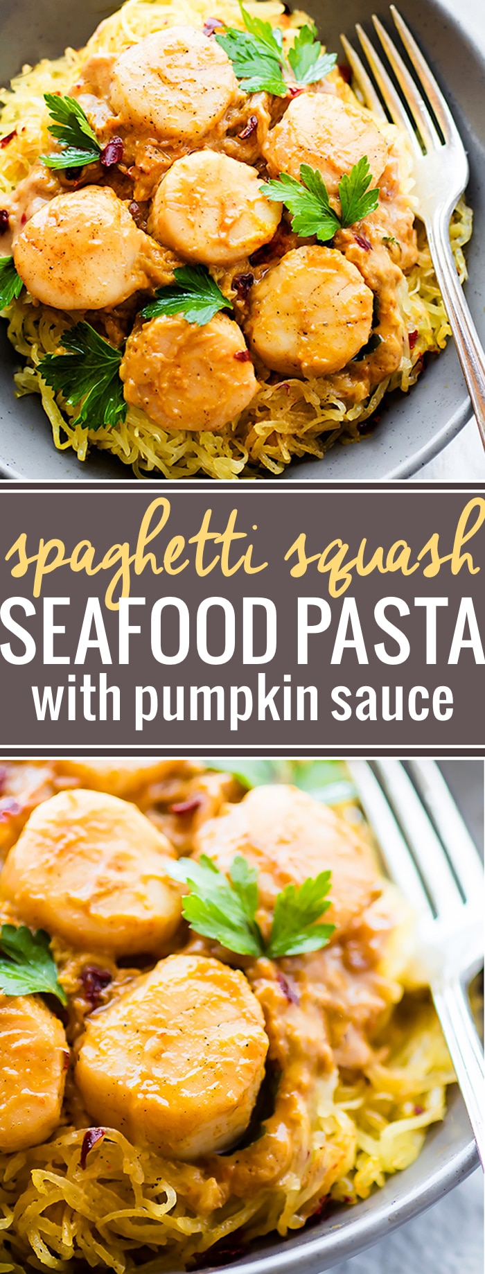Spaghetti Squash Pasta makes for an easy paleo pasta alternative! This gluten free Seafood Pumpkin Spaghetti Squash Pasta is topped with a miso pumpkin sauce and buttery scallops. A healthy lighter version of your favorite pasta dish.@cottercrunch