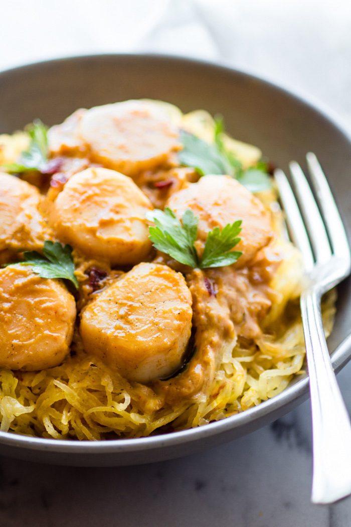 Spaghetti Squash Pasta With Scallops And Pumpkin Sauce