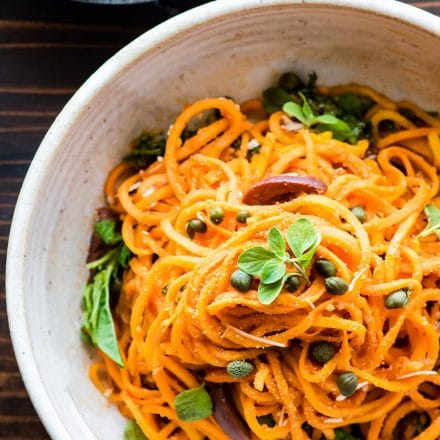 Italian sweet potato spaghetti in a bowl