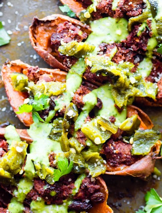 sweet potato skins stuffed with ancho beef chili