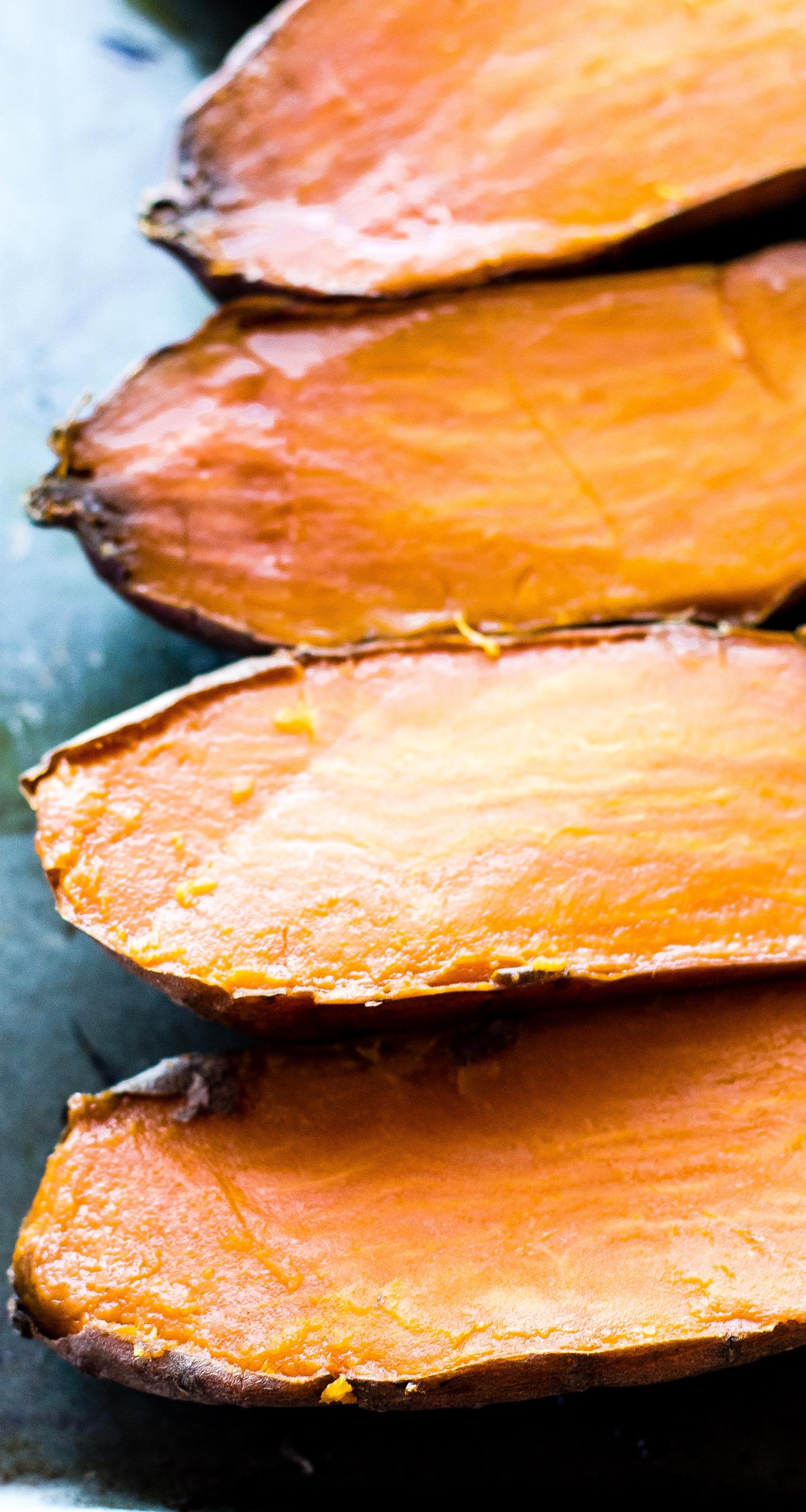 baked sweet potatoes, sliced in half