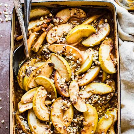 hot fruit bake with caramelized apples