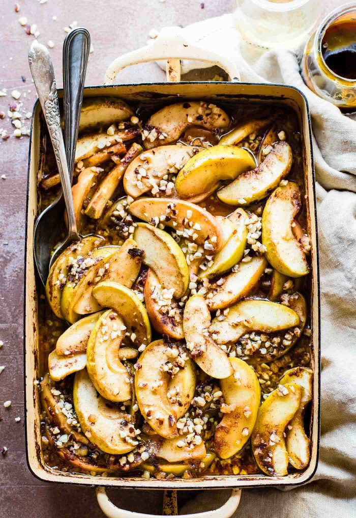 fruit bake with caramelized apples  paleo friendly