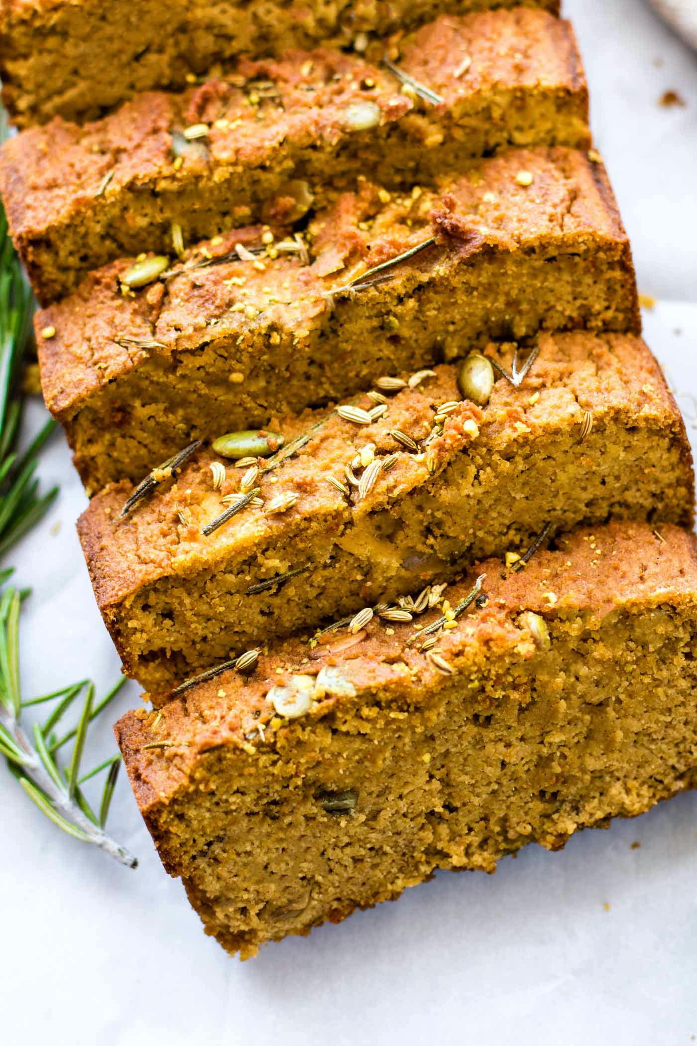 loaf of paleo pumpkin bread (quick bread recipe)
