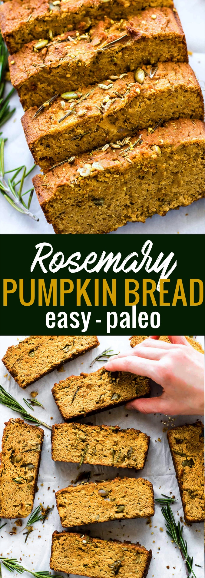 Rosemary PALEO PUMPKIN BREAD with pumpkin seeds! Have you tried savory Pumpkin Bread? It's simple to make and delicious! This Rosemary paleo pumpkin bread is the perfect healthy snack, breakfast, or accompaniment to any soup or chili. @COTTERCRUNCH