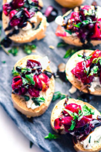 Quick Cranberry Goat Cheese Gluten Free Crostini
