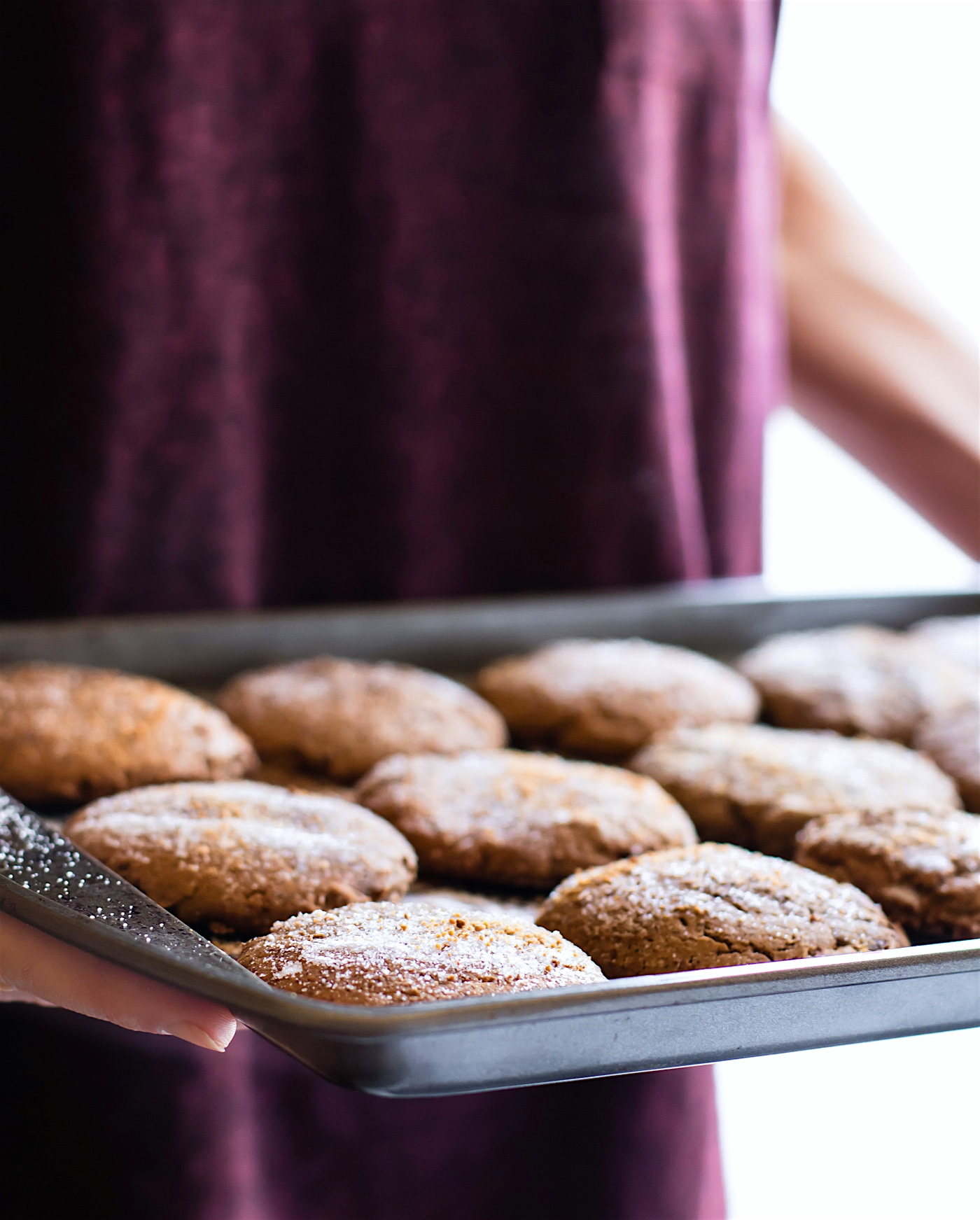 a pan of egg free, gluten free Christmas cookies - brown butter snickerdoodles