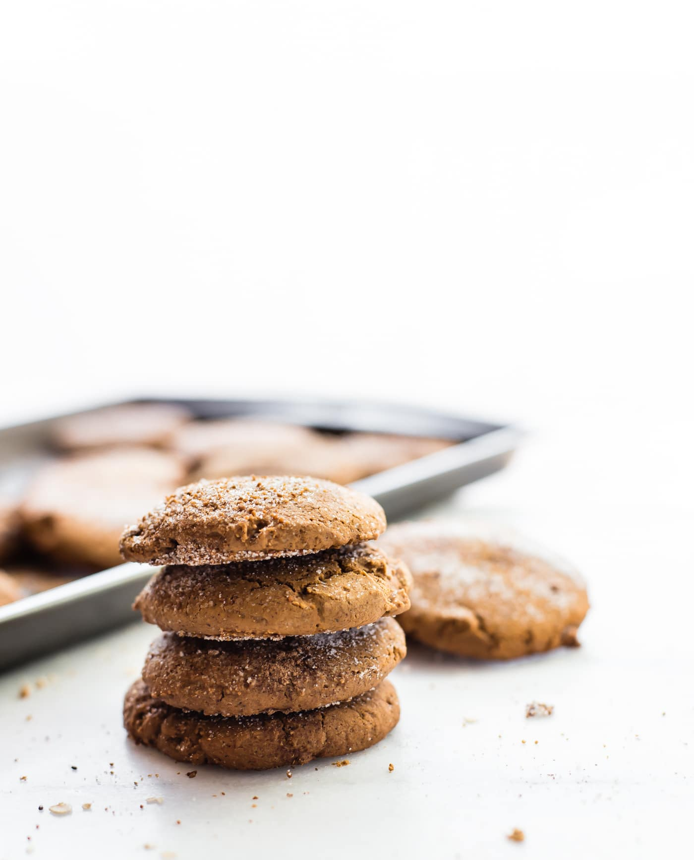 stack of brown butter snickerdoodles cookies