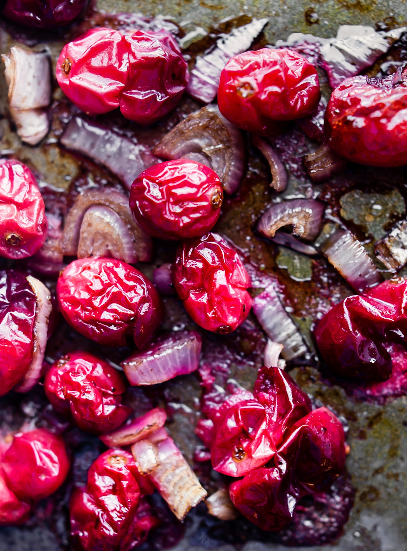 roasting cranberries and onions to make a crostini recipe