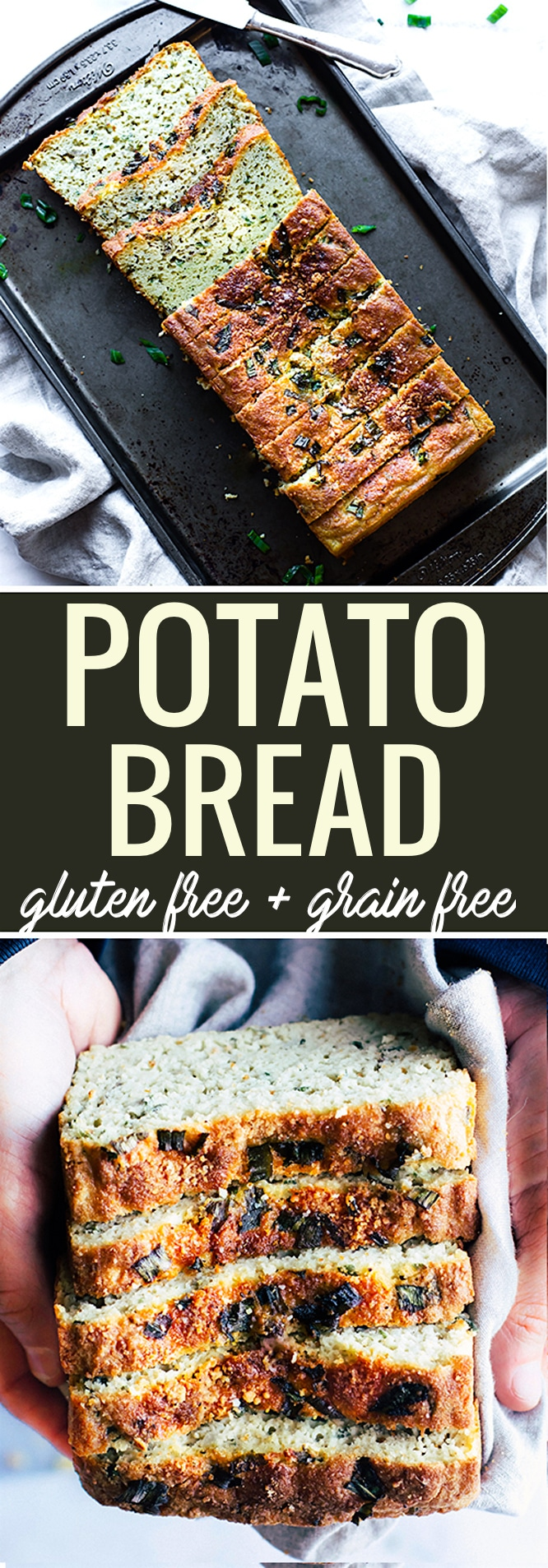 Easy Homemade Gluten Free Potato Bread with onion and herbs! This grain free and gluten free potato bread is simple to make, healthy, and delicious! A great way to use up any lefotver baked or mashed potatoes too. A homemade potato bread that hearty and flavorful! www.cottercrunch.com @cottercrunch