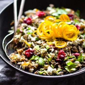 bowl of quinoa pilaf with wild rice, made in a slow cooker