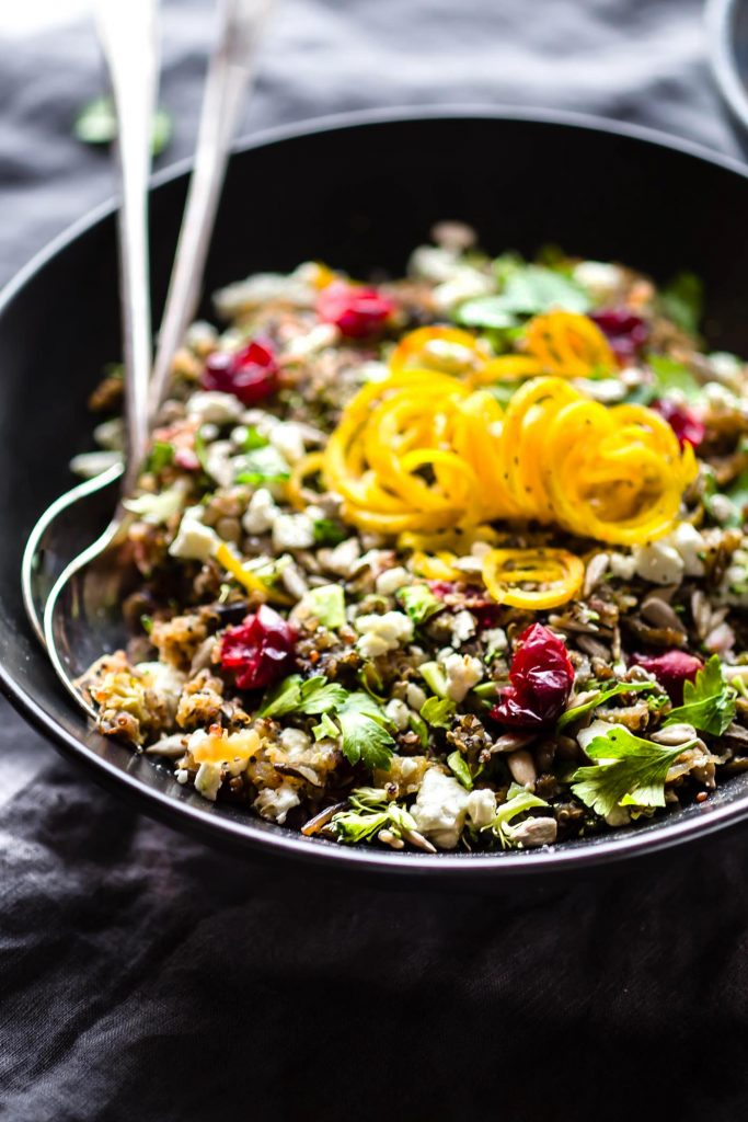 bowl of healthy wild rice and quinoa pilaf with autumn vegetables