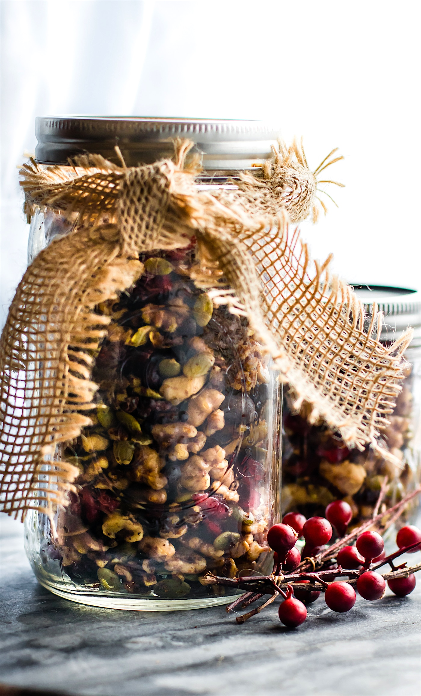 mason jar filled with pumpkin spice trail mix