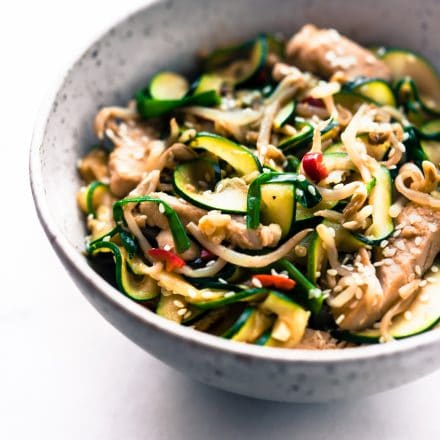 bowl of turkey chow fun zucchini noodles stir fry
