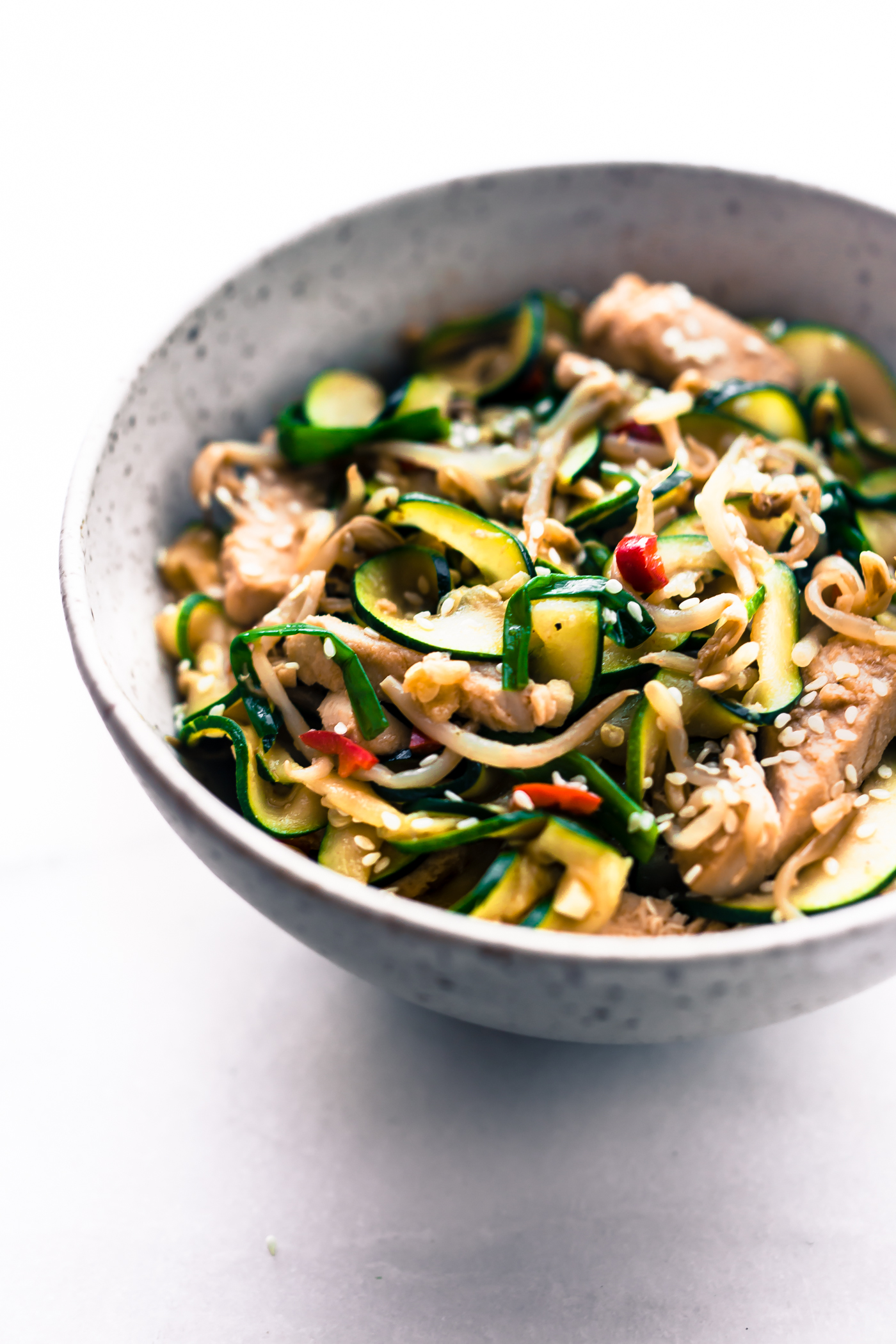 bowl of zucchini stir fry noodles and leftover Thanksgiving turkey and veggies
