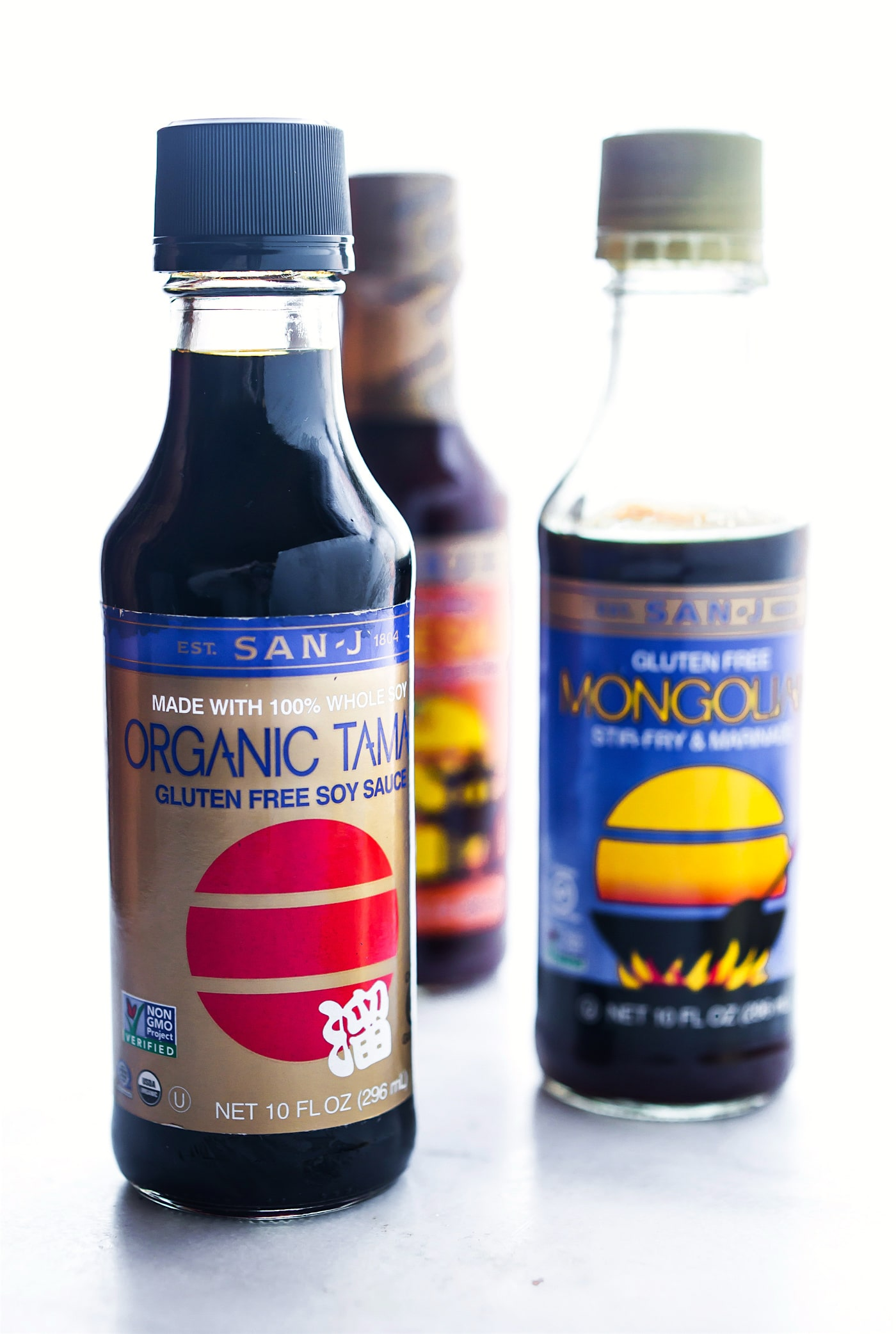 bottles of San-J Organic Tamari Sauce and Mongolian sauce