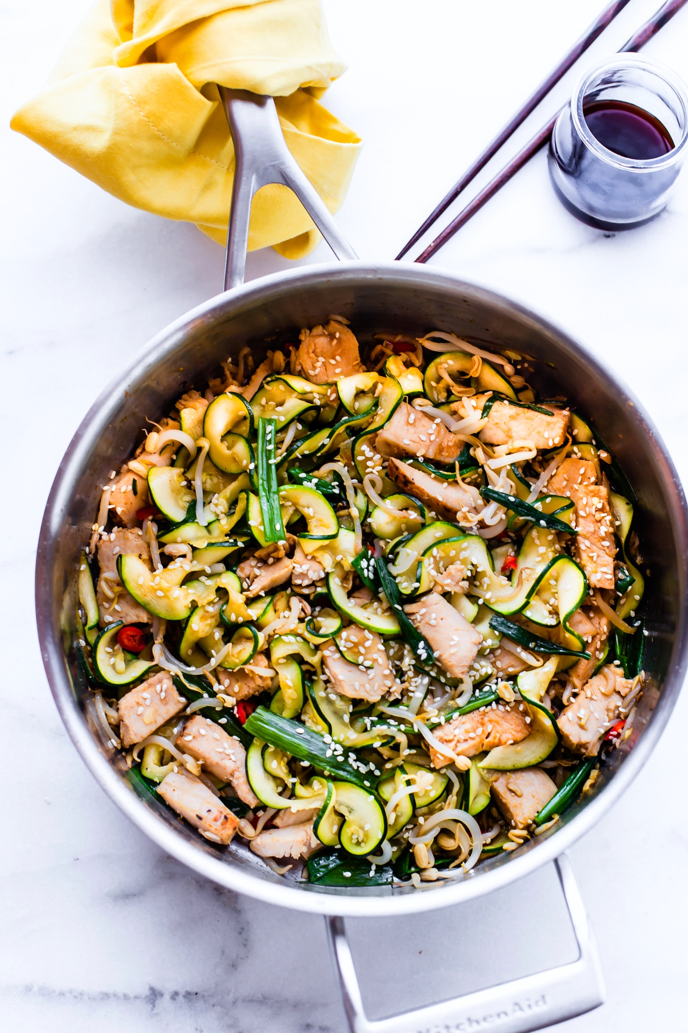 skillet of Turkey Chow Fun made with tamari zoodles
