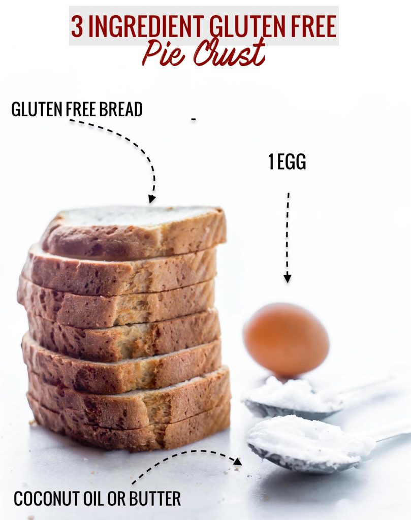 Ingredients needed to make a 3 ingredient gluten free pie crust: (shown: gluten free bread, an egg, and coconut oil)