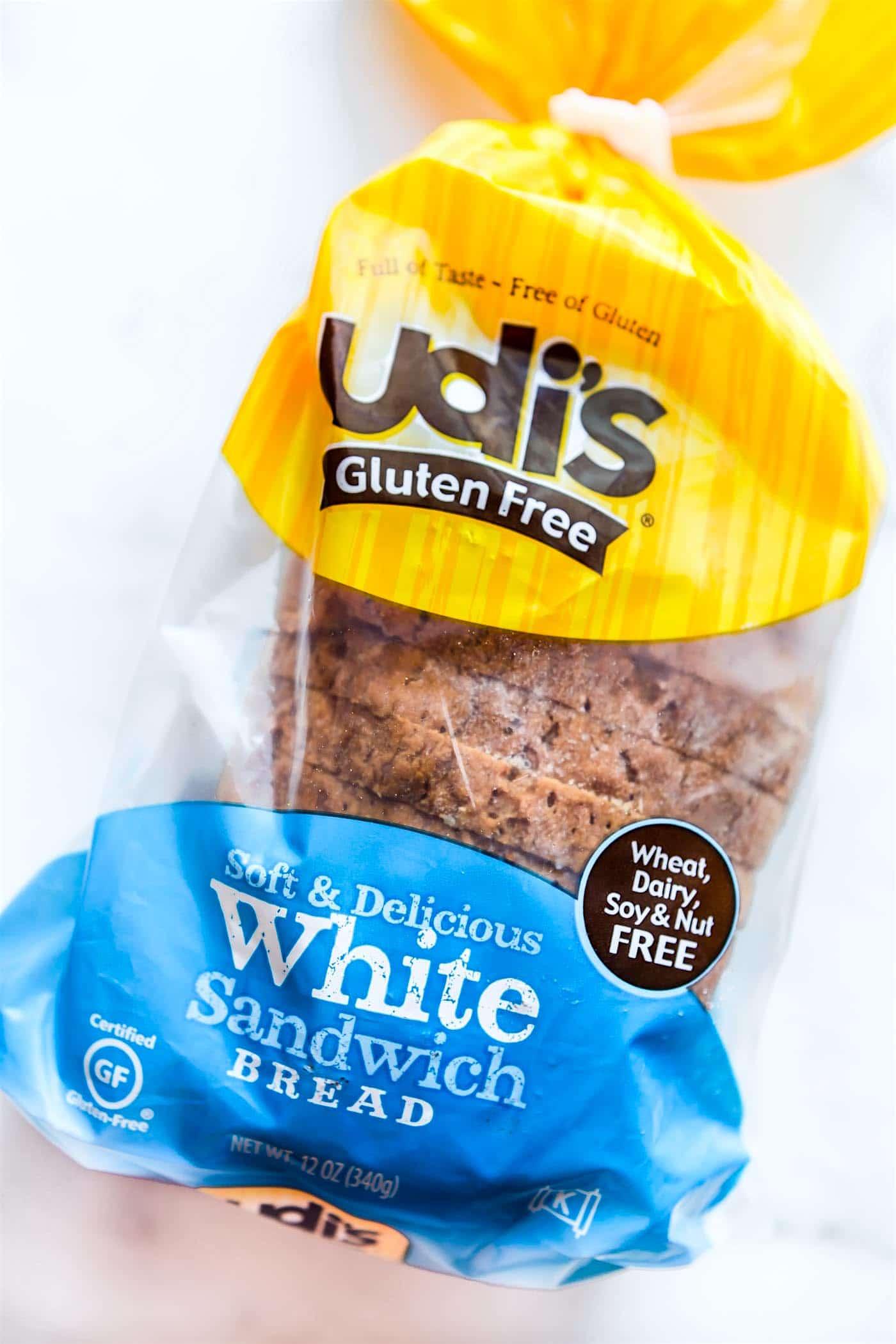 loaf of Udi's Gluten-Free White Sandwich Bread