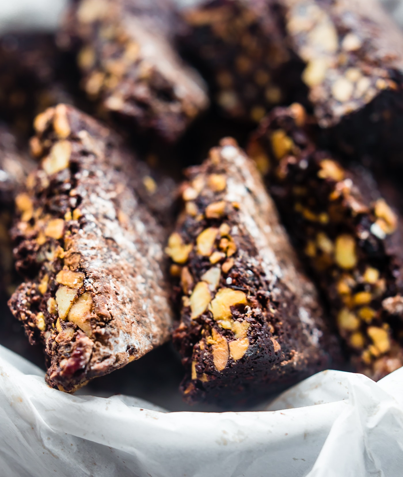 slices of Panforte (chocolate Christmas cake)