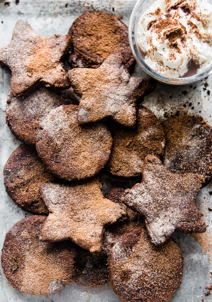 overhead: Mexican chocolate sugar cookie cut-outs in star shapes