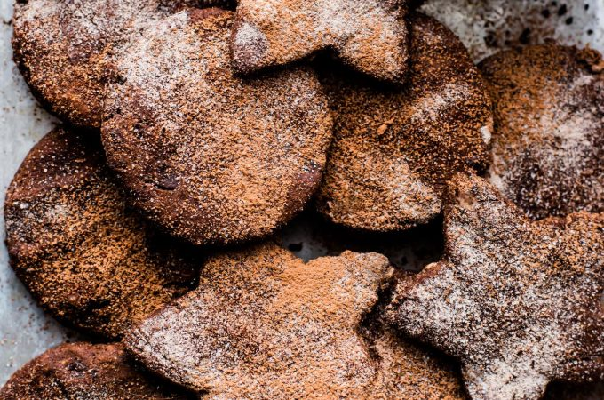 Mexican Hot Chocolate Sugar Cookies are festive and easy to make! Mexican Hot Chocolate and spices are what make these paleo and vegan friendly Sugar cookies unreal good! No butter or dairy needed. So good for holidays or anytime! Soft Gluten free Chocolate sugar cookies