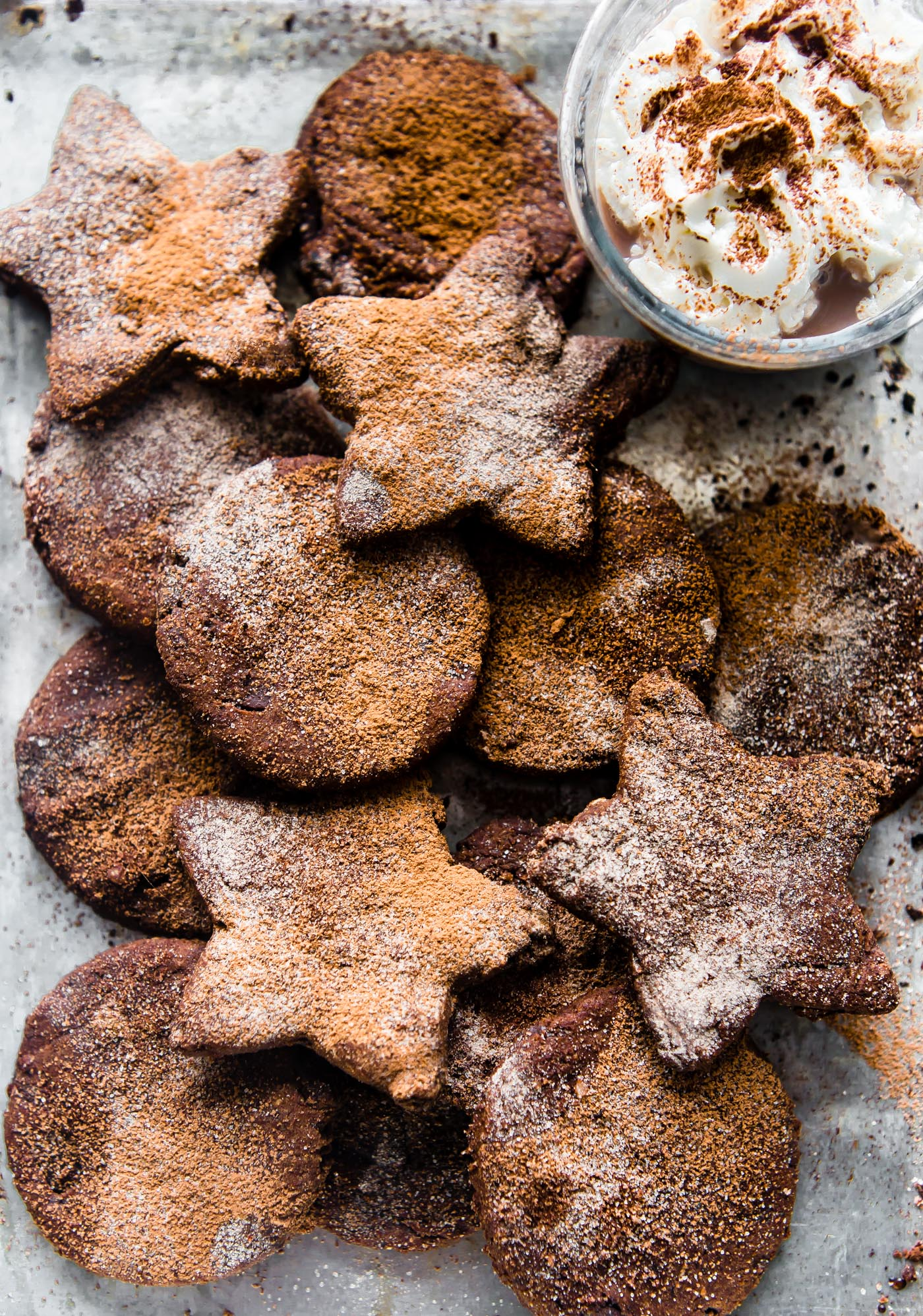 paleo Mexican Hot Chocolate Sugar cookies on a platter