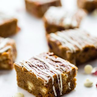 """Try these Cranberry White chocolate pumpkin bars for a """"healthier"""" holiday dessert!"""