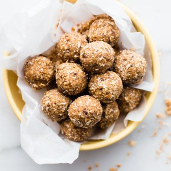 basket of toasted coconut bliss balls