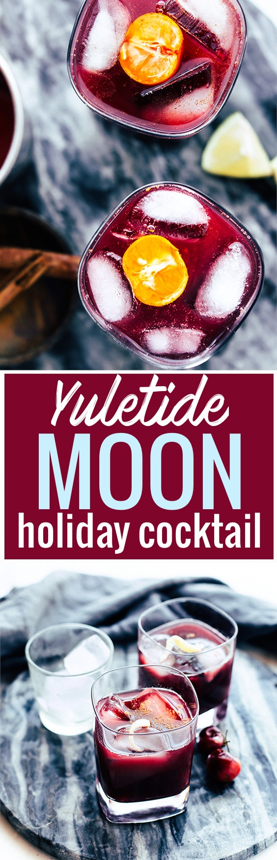 A festive red holiday cocktail recipe to spice up your party and gatherings! Yuletide Moon is a red wine (Merlot) and bourbon holiday cocktail in an old fashioned glass. Made with cherries, spices, and a bit of maple on the rocks. Tis DIVINE! www.cottercrunch.com @cottercrunch Vegan and Gluten free friendly.