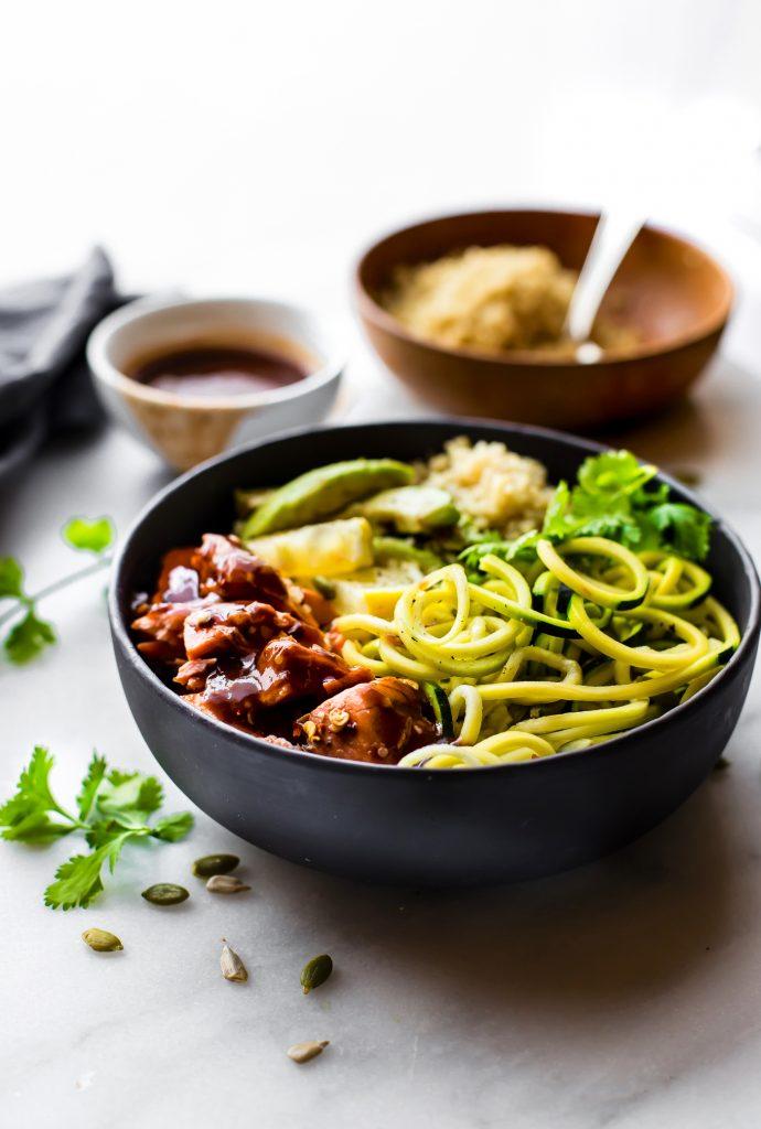 Honey BBQ Baked Salmon Bowls - easy meal prep recipe! Paleo