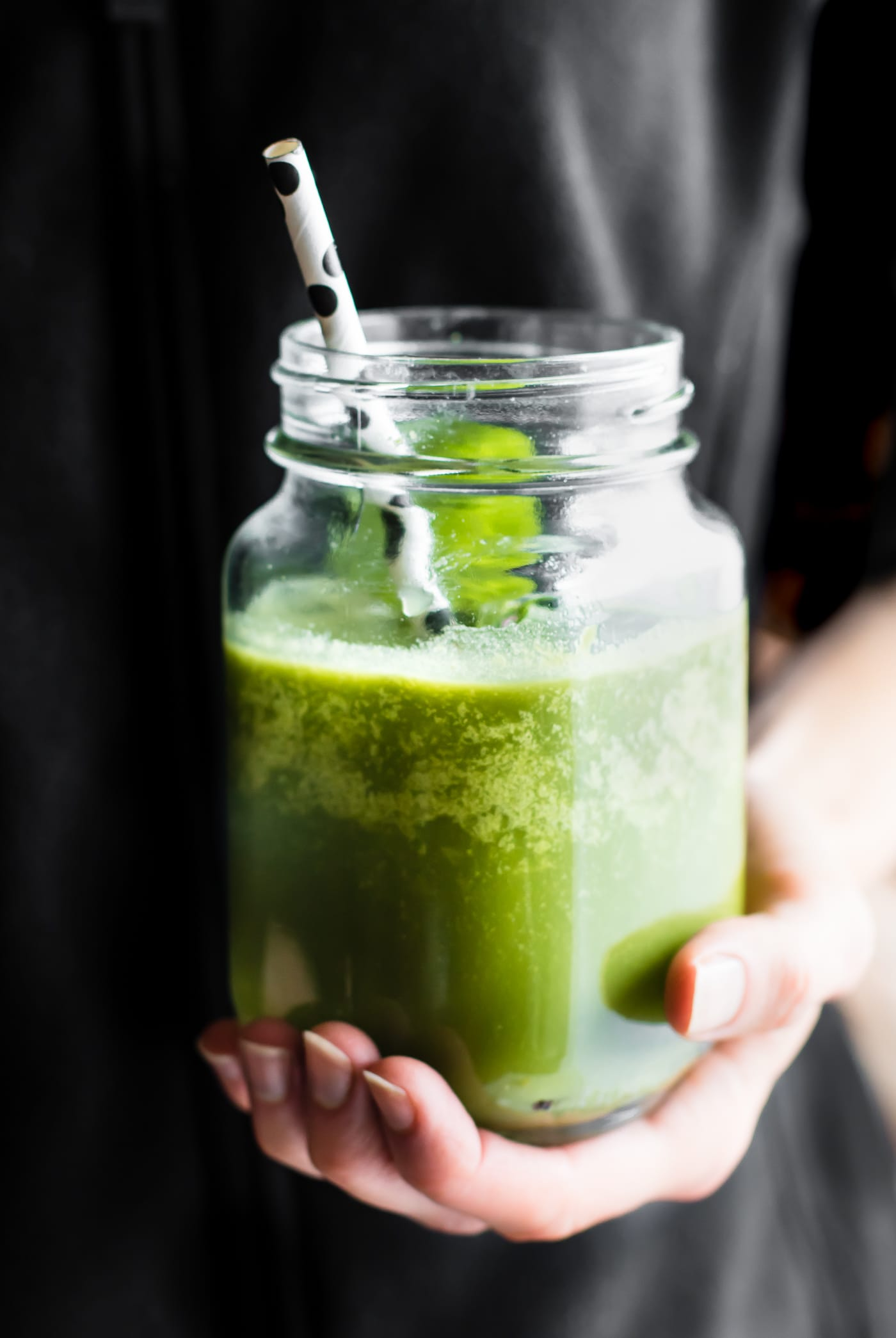 A POWER FUEL Green Smoothie to kick start the day. Citrus fruit, apple, Mint, Leafy Greens, and coconut oil blended to boost Energy. Whole 30, Paleo, Vegan.