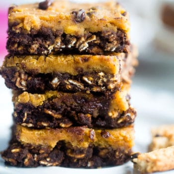 stack of vegan cookie dough oatmeal breakfast bars