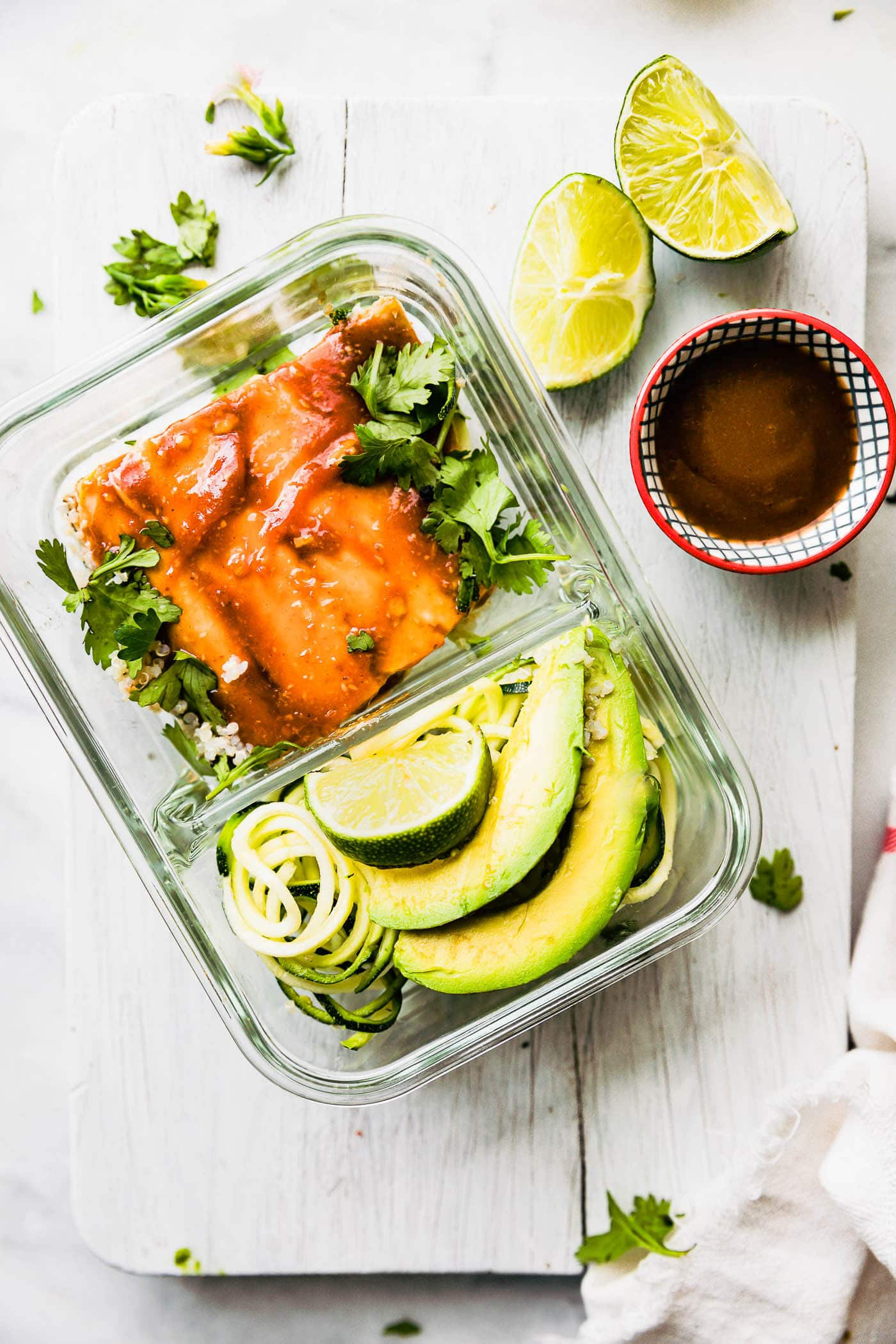salmon in meal prep container