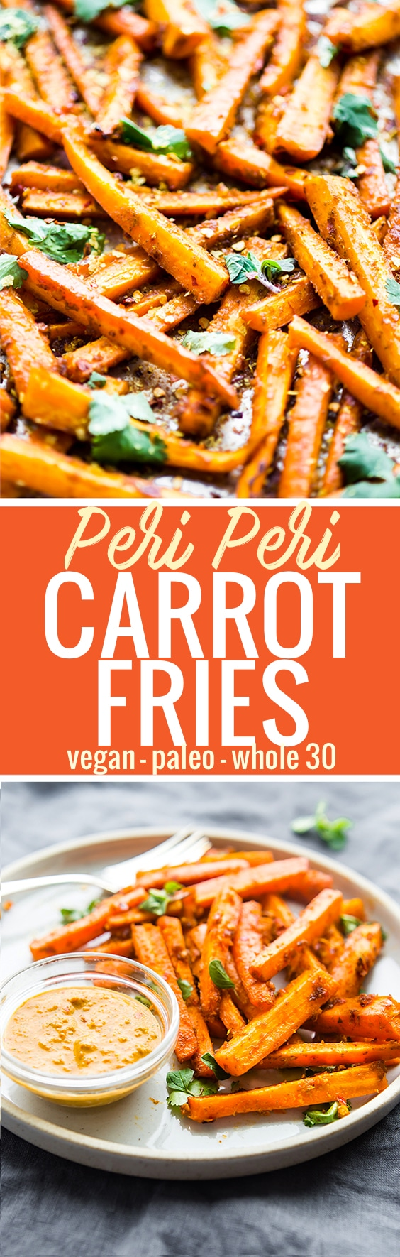 These Peri Peri oven baked carrot fries are gonna knock your socks off ya'll! The homemade Peri Peri Sauce is the key to making these carrot fries more flavorful.Just marinate slicecarrots in the sauce, bake, and enjoy! A paleo, vegan, and whole 30 friendly snack with akickof spice. www.cottercrunch.com