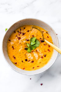 Healing Roasted Red Pepper Bisque with Shrimp {Dairy Free}