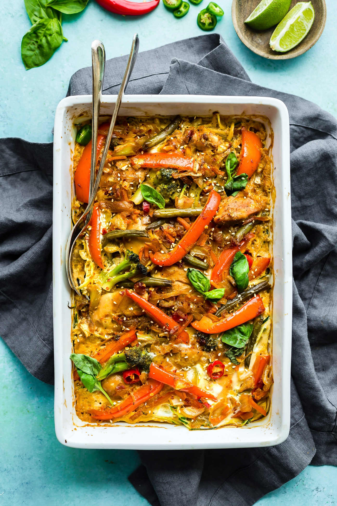 This Drunken Chicken Zoodle Casserole takes a spin on the original Pad kee mao Asian stir fry and puts in casserole form. A Paleo Noodle Zoodle Casserole with tons of flavor, Thai spices, and simple healthy ingredients! Light and delicious.