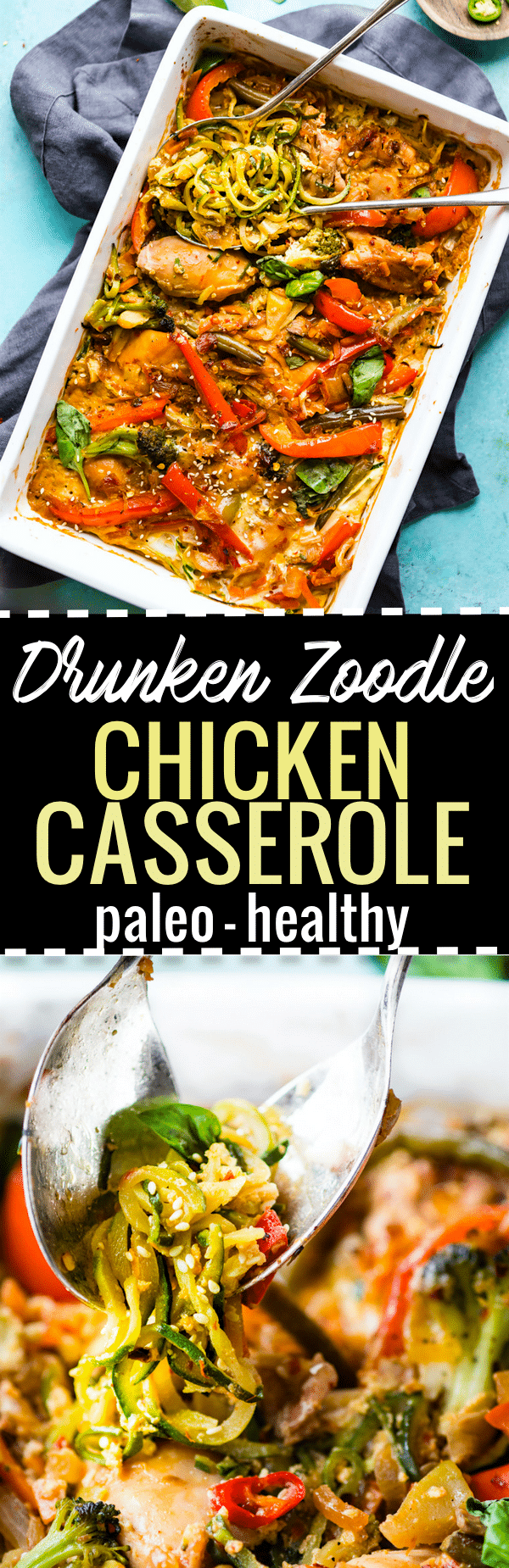 Paleo Drunken Zoodle Chicken Casserole takes a spin on the original Pad kee mao Asian stir fry and puts in casserole form. Noodle Zoodle Chicken Casserole with tons of flavor, Thai spices, and simple healthy ingredients! Light and delicious.  https://www.cottercrunch.com/