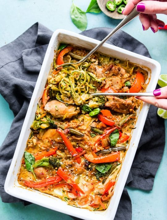 Drunken Chicken Zoodle Casserole takes a spin on the original Pad kee mao Asian stir fry and puts it in casserole form. A paleo zucchini noodle casserole with tons of flavor, Thai spices, and simple healthy ingredients! A delicious, light, high protein, low carb recipe.