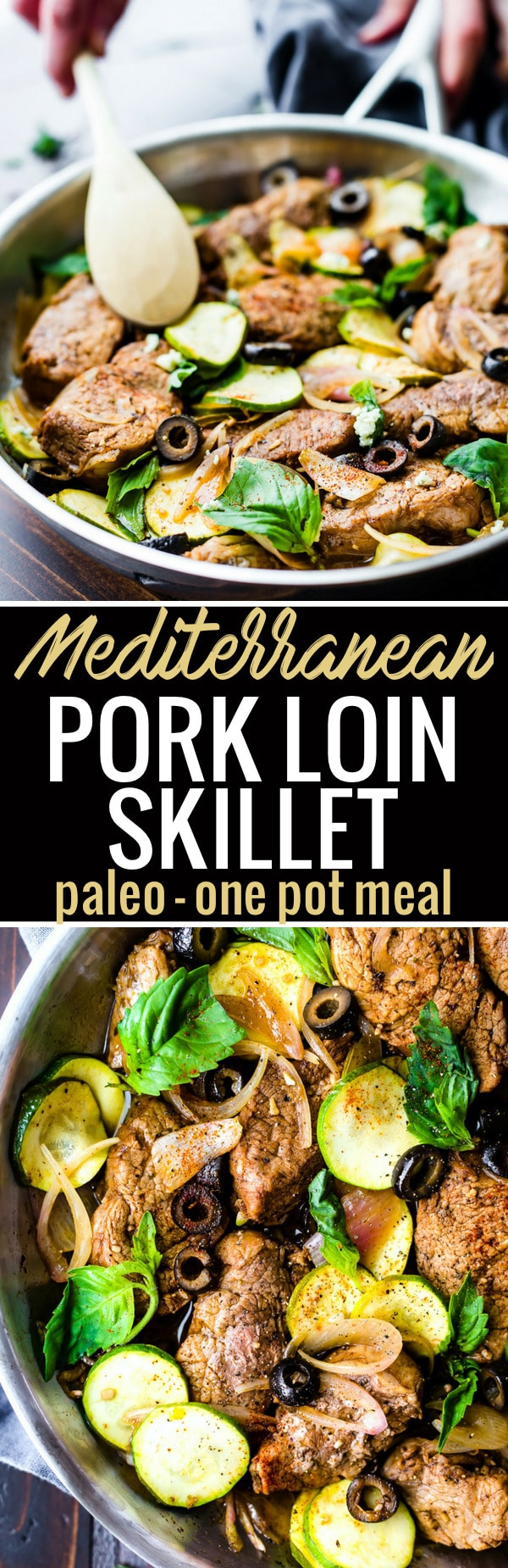 This Mediterranean Marinated Balsamic Pork Loin Skillet with vegetables makes for an easy one pan meal! VeggiePacked, Nourishing, Paleo, and ready 45minutes. You and your familywill love this flavorful pork loin skillet dish in a tangy balsamic marinade. https://www.cottercrunch.com