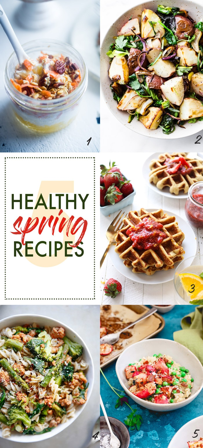 5 Healthy Spring recipes! Including Spring Leek and Potato Pan roast! This Vegetable Pan Roast is packed with Seasonal Leek, Potato, and Steamed Spinach Greens!