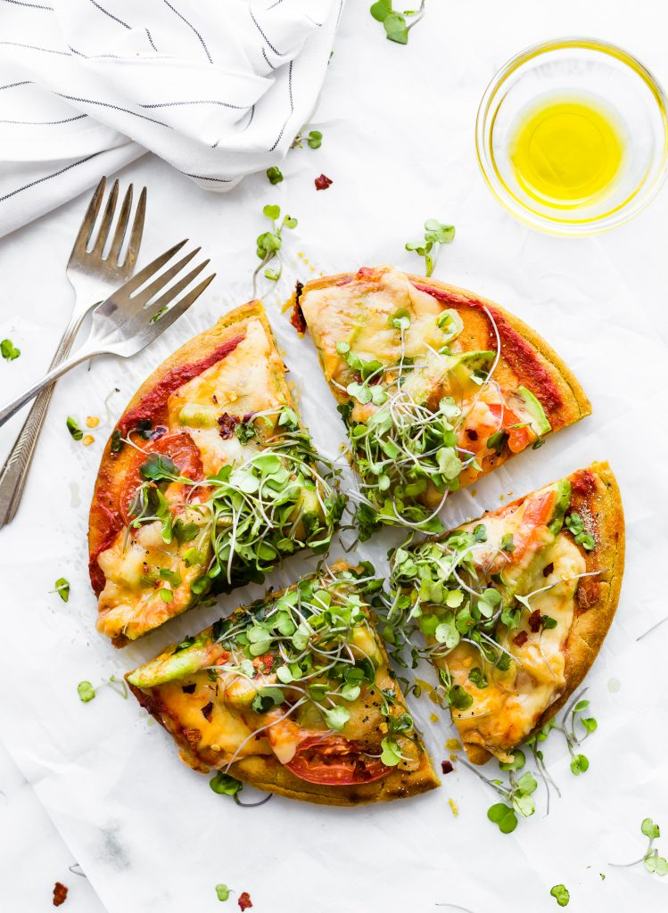 Avocado Tomato Gouda Socca Pizza - Grain free, gluten free, egg free, quick and easy!