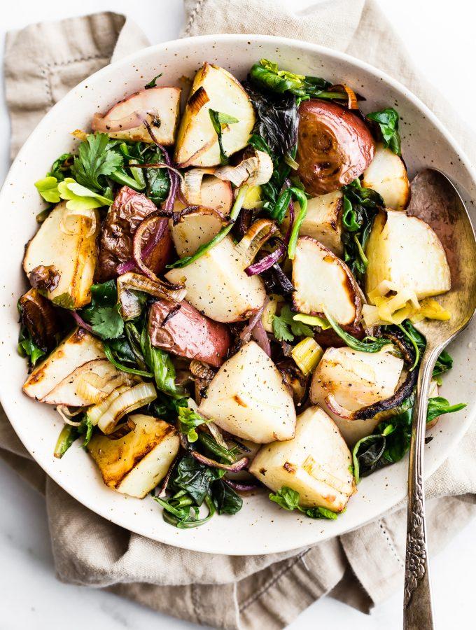 Easy seasonal leek and potato sheet pan roast