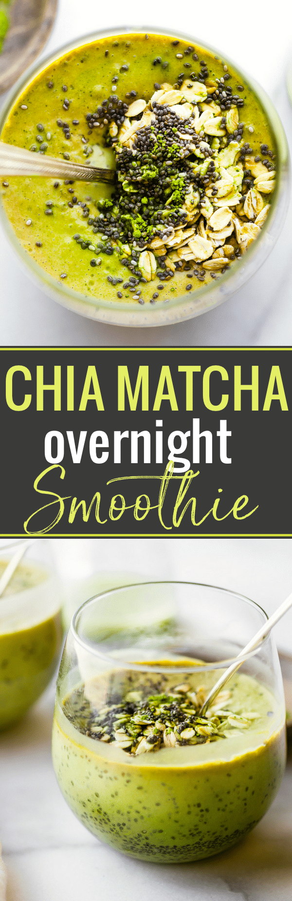"This Chia Matcha Overnight Breakfast Smoothie is a great way to start the day! An energizing Make ahead smoothie packed with antioxidants, fiber, and probiotics! Just blend it up the night before and enjoy the next morning. The Perfect ""Green"" smoothie breakfast on the go, or anytime! Vegan Friendly and gluten free! www.cottercrunch.com"