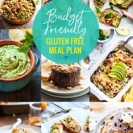 titled photo collage: Budget Friendly Gluten Free Meal Plan
